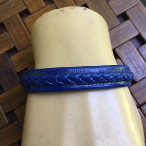 Hand braided blue leather bracelet